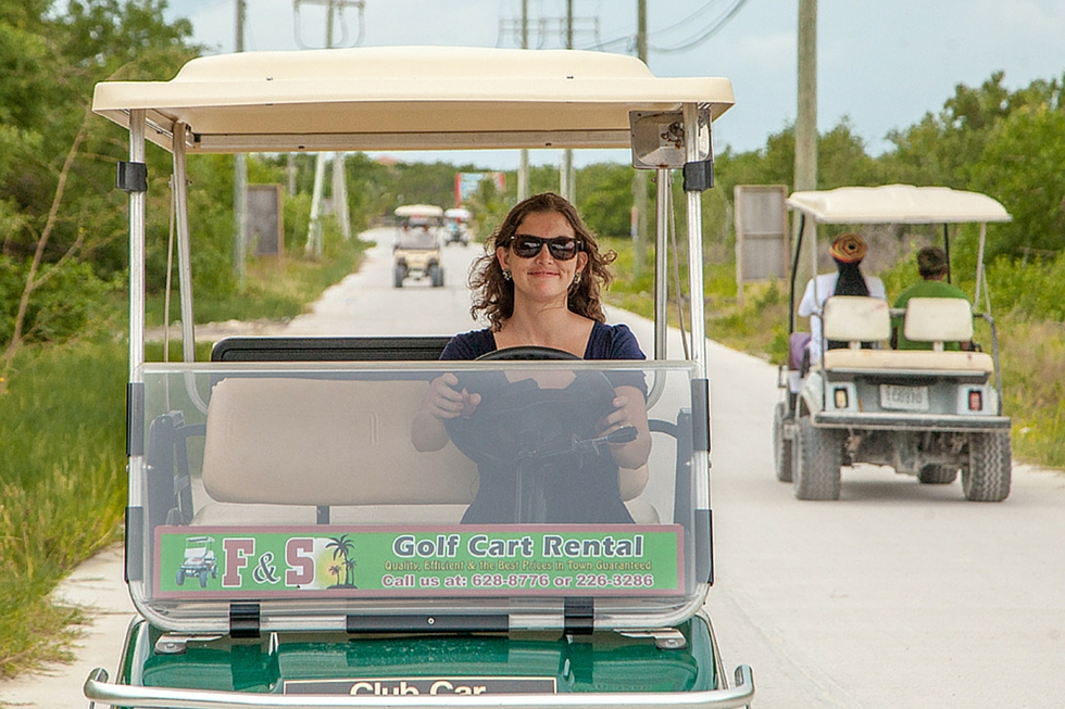 Golf cart to town -San Pedro Belize