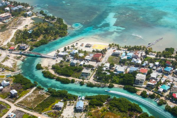 Beaches in San Pedro Belize from above