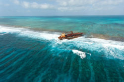 Shipwreck in the Belize Barrier Reef