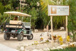 Golf Cart entering Coco Beach Resort