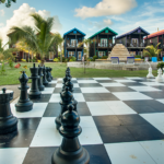 Life size chess near pool