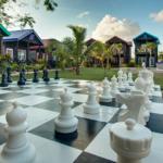 Life Size chess near back pool